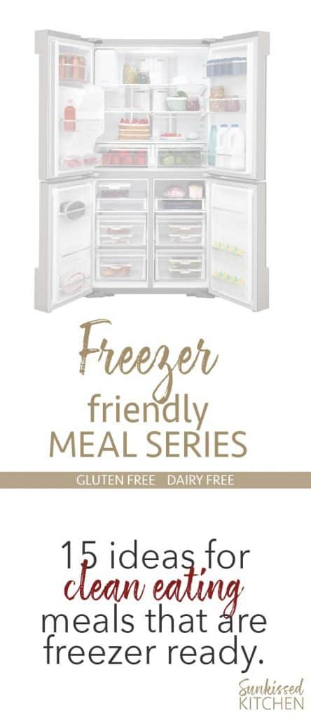An image of a freezer open and a graphic explaining new recipes for a clean eating lifestyle.