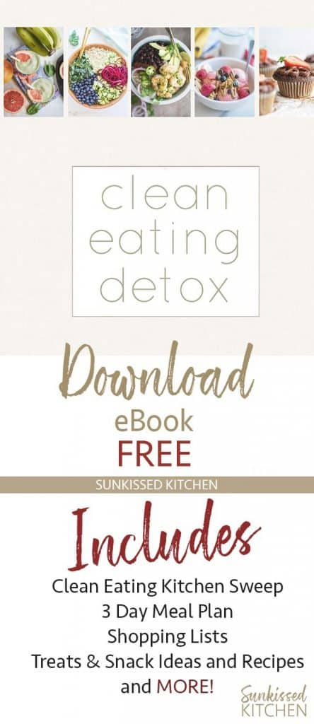 A long image showing the cover of the Clean Eating Detox and a preview of what's inside.
