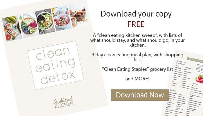A graphic showing the Clean Eating Detox eBook cover, with an option to subscribe to the newsletter for a free copy.
