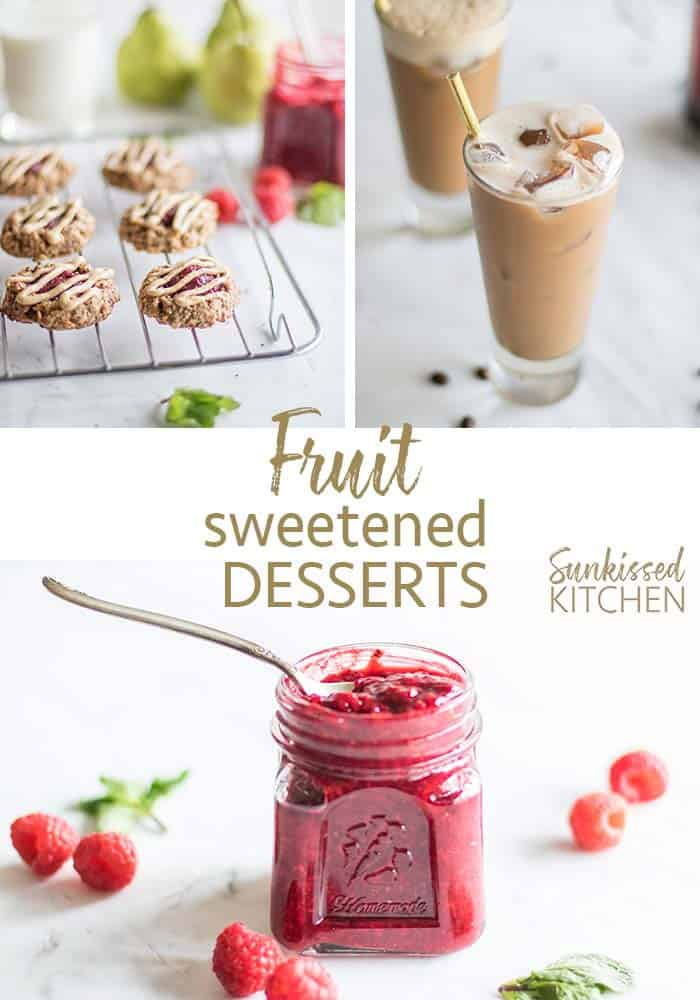 3 images showing a sampling of the new recipes available in the Sugar Free Desserts recipe ebook.