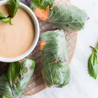 "Thai Spring Rolls with ""No-Peanut"" Sauce"