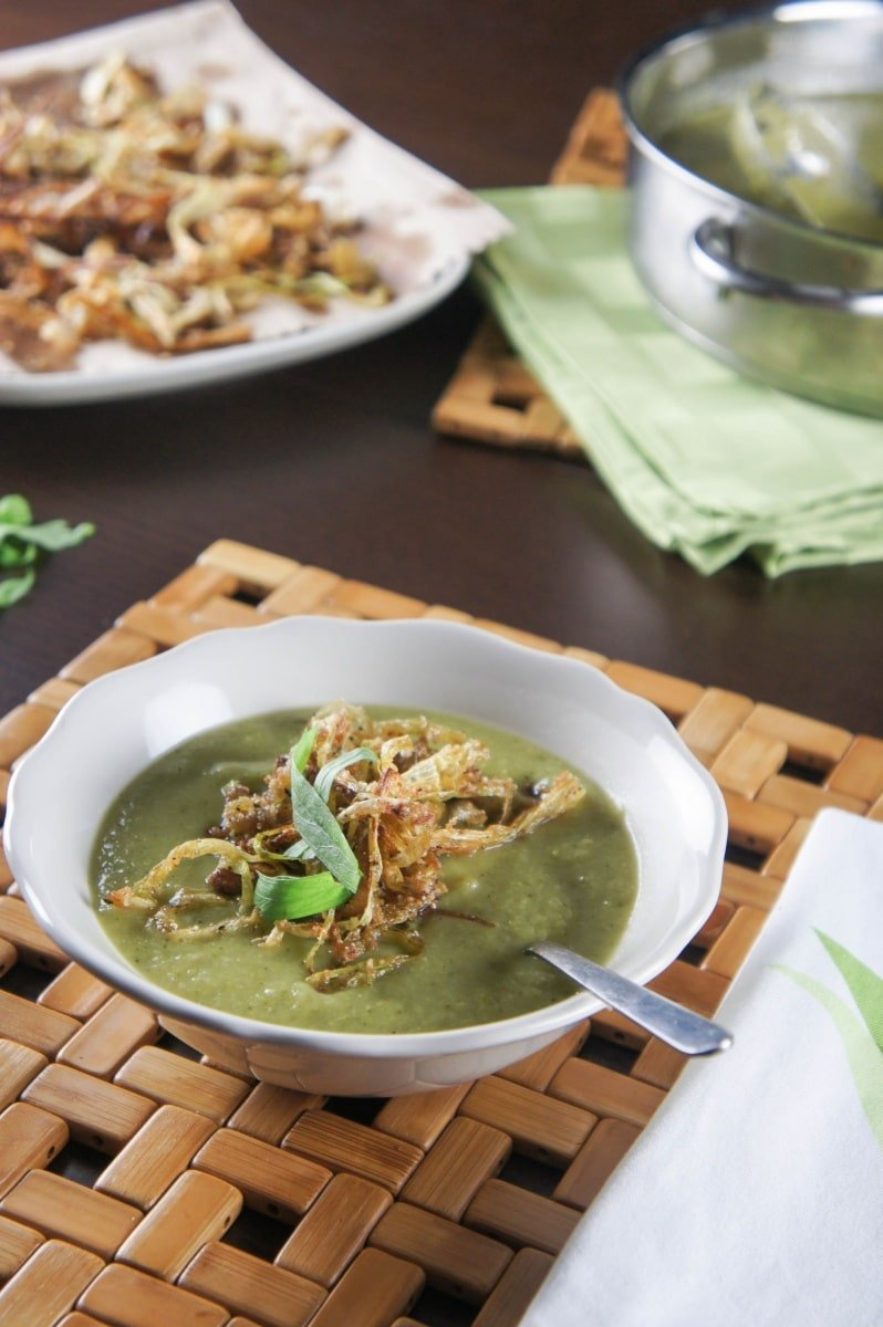 Broccoli Leek Soup with Crispy Fried Leeks