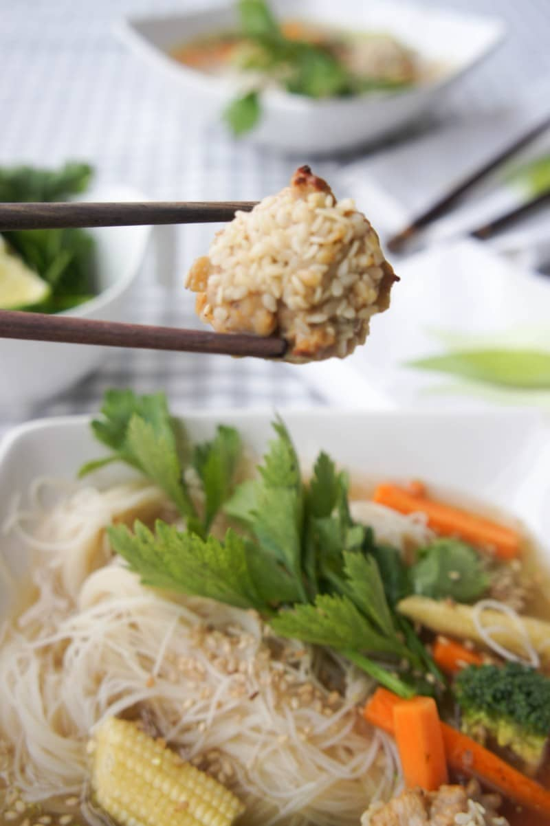 Asian Sesame Meatballs in Ginger Broth