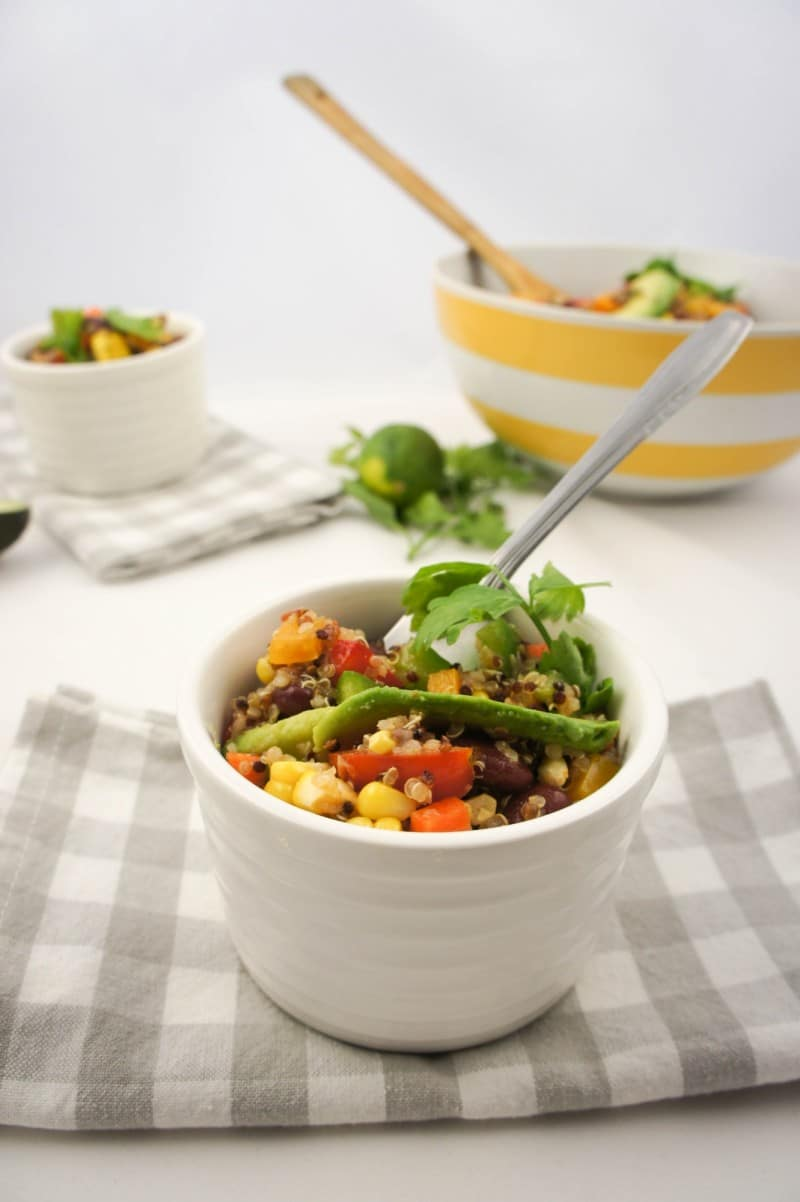 High protein quinoa and kidney bean salad with salsa vinaigrette