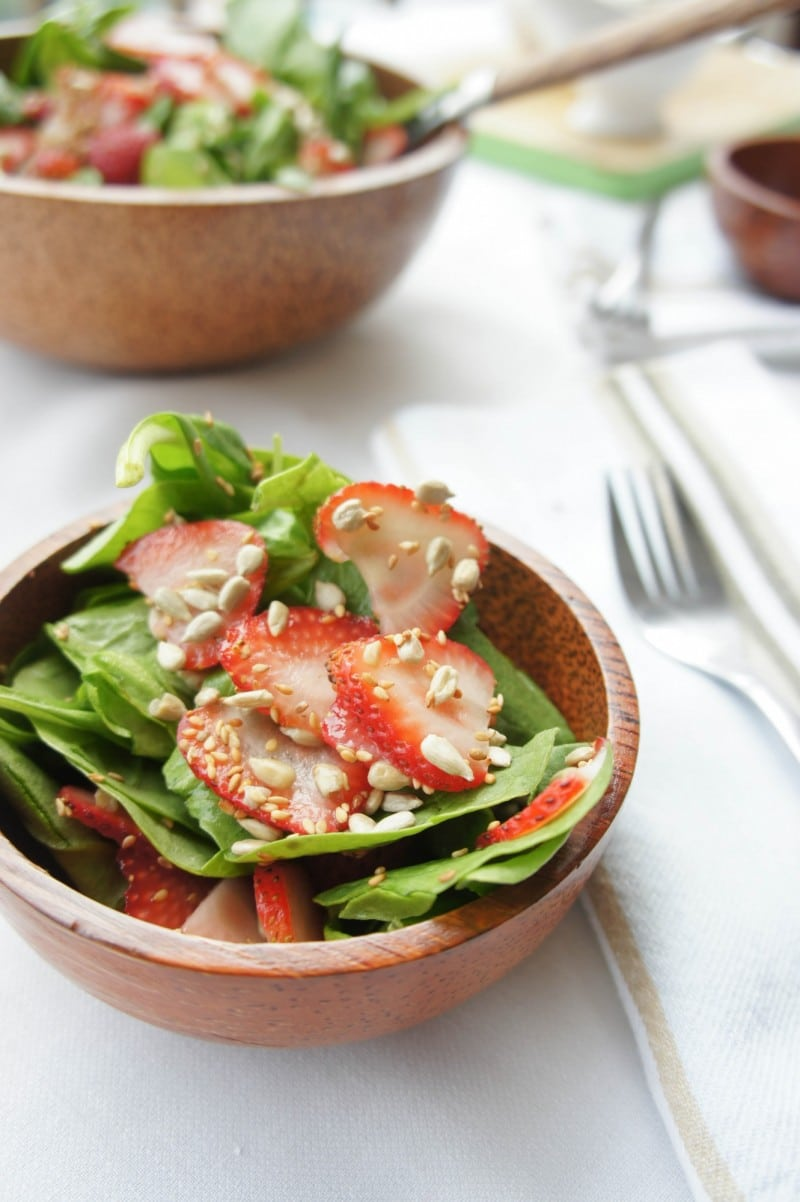 Summer Strawberry Spinach Salad with Mustard Vinaigrette