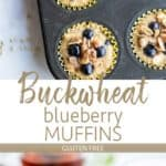 Buckwheat blueberry muffins cooling on a rack, and shown next to mugs of tea.