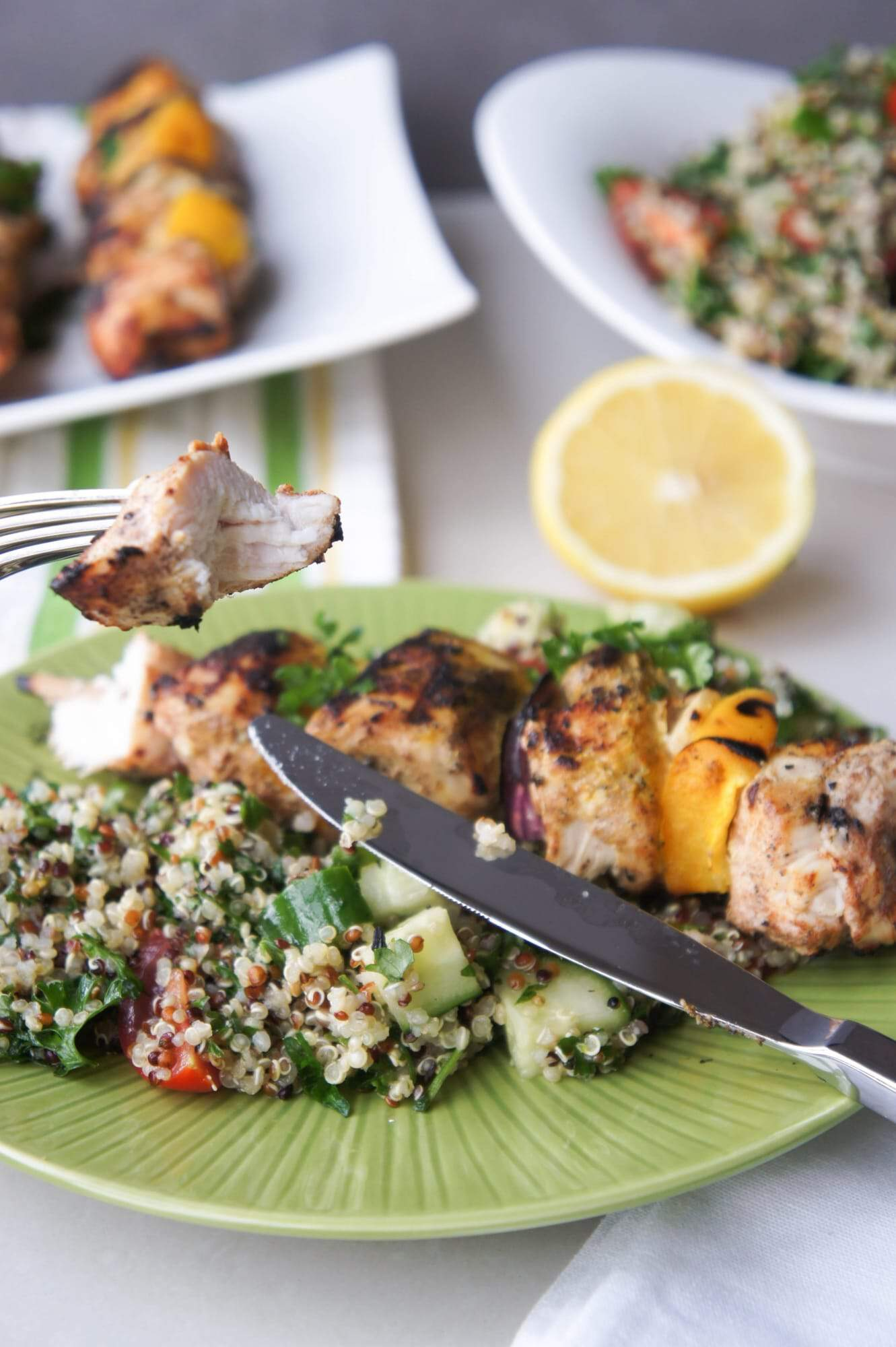 Marinated Chicken Skewers and Quinoa Tabbouleh
