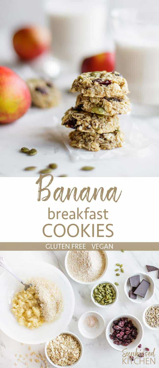 Two images showing a stack of banana breakfast cookies, and all the ingredients in vegan breakfast cookies.