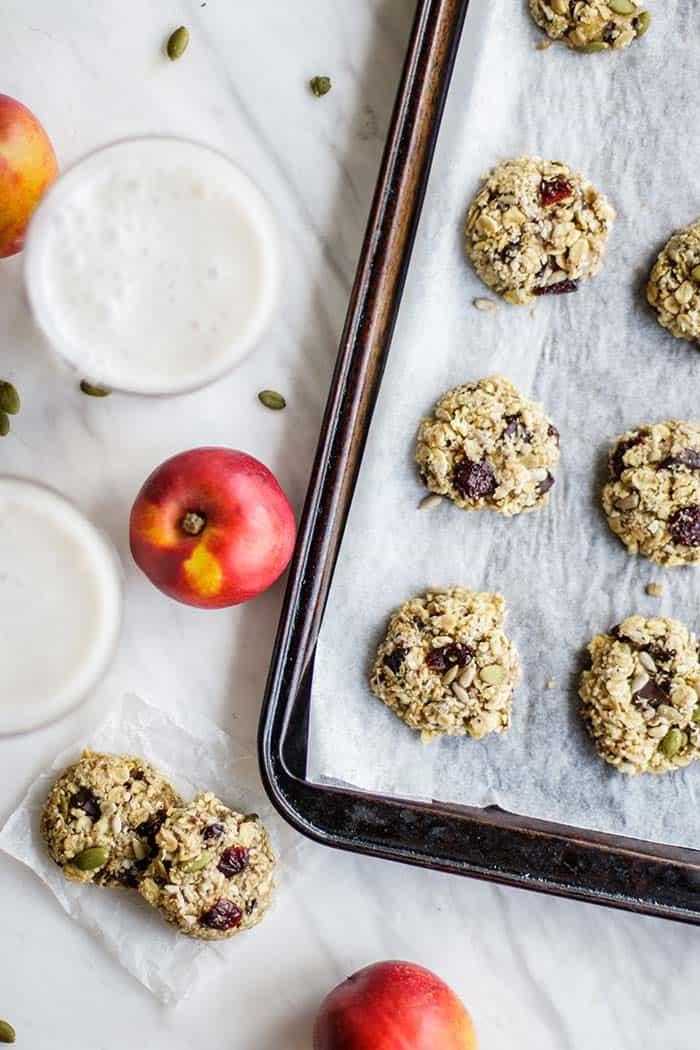 A pan of freshly baked vegan breakfast cookies.