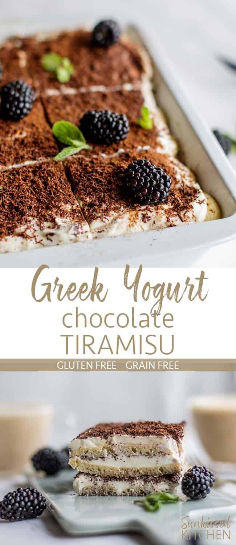Two images showing greek yogurt tiramisu prepared in a pan, and cut into a slice.