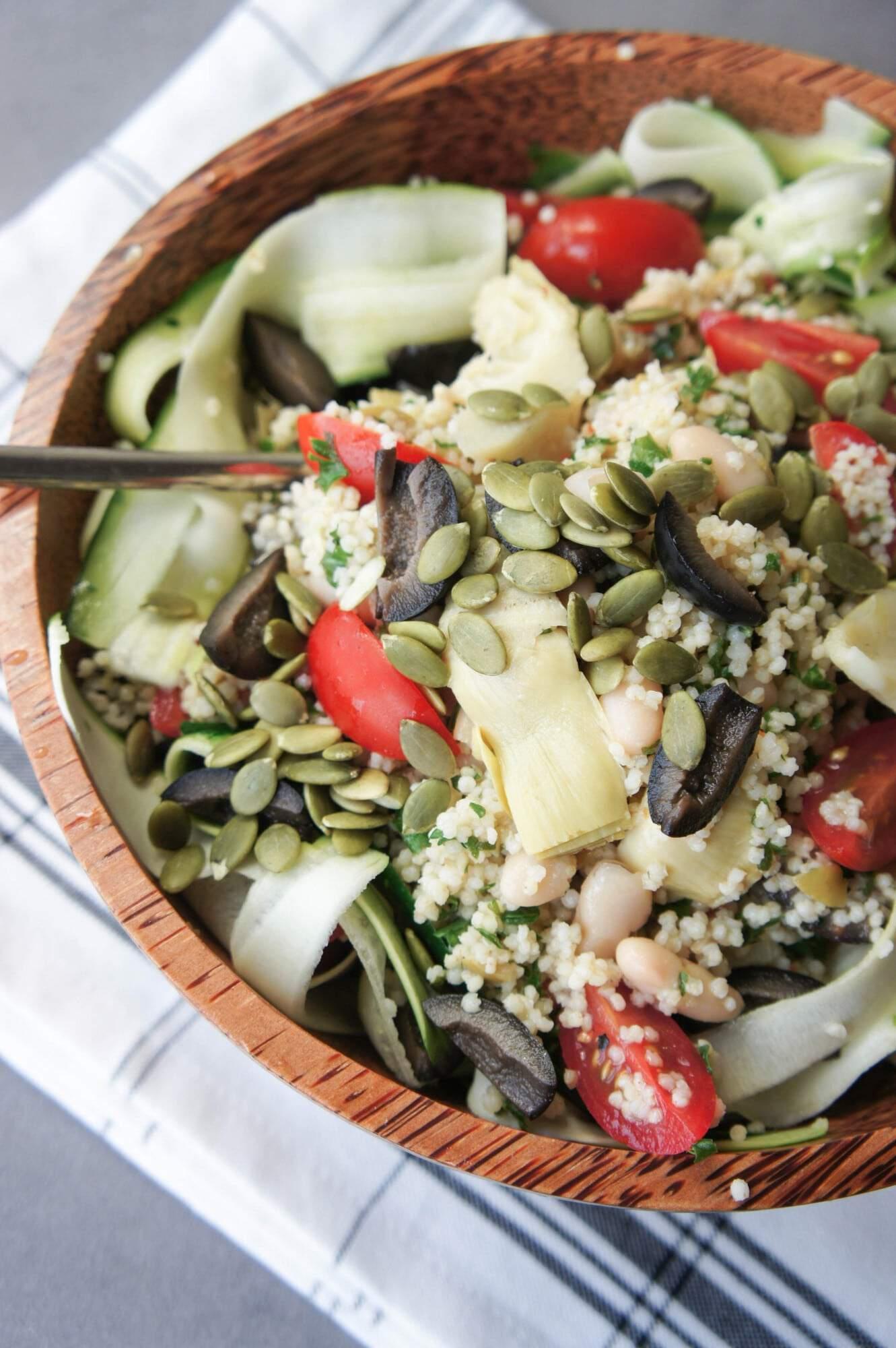 white bean millet salad