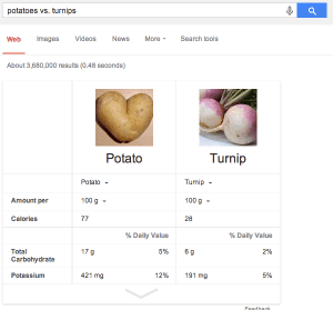 Potatoes vs turnips