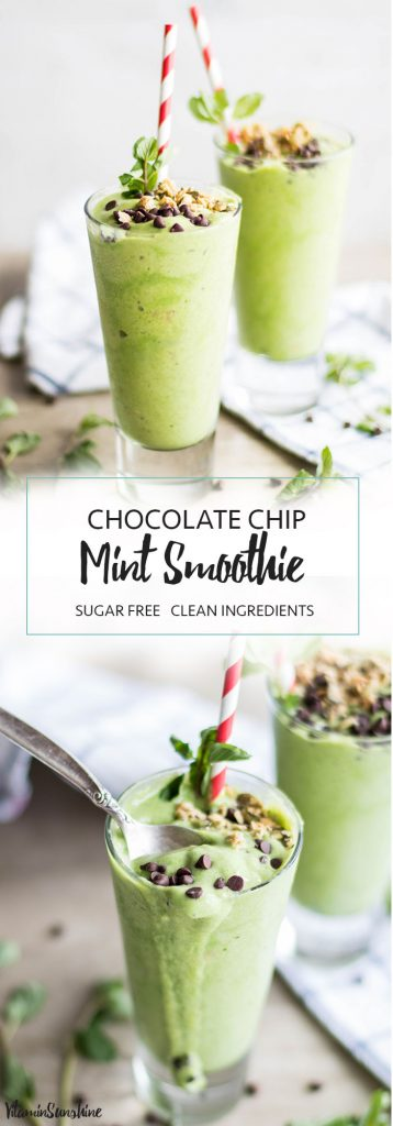 Chocolate Chip Mint Smoothie / These creamy, dreamy smoothie tastes too much like a milkshake! All nutritious ingredients, no sugar. Like ice cream for breakfast!