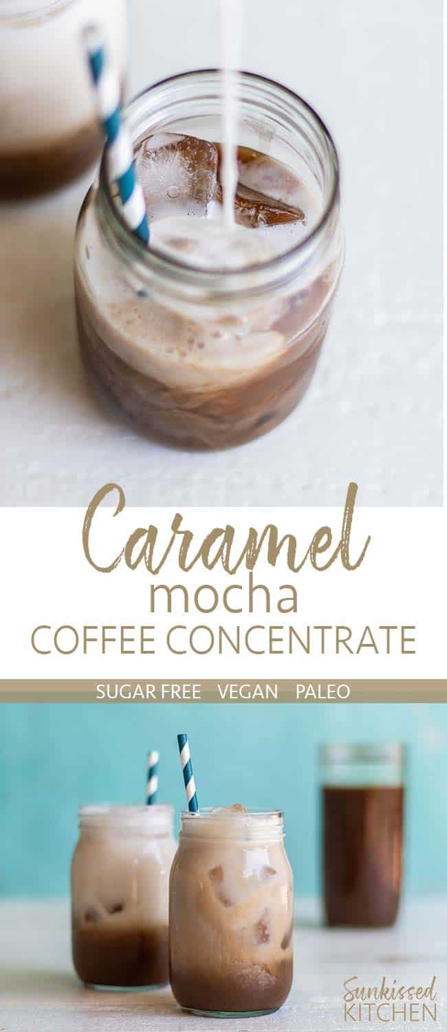 Salted caramel mocha coffee concentrate on ice in a jar, with almond milk being poured in.