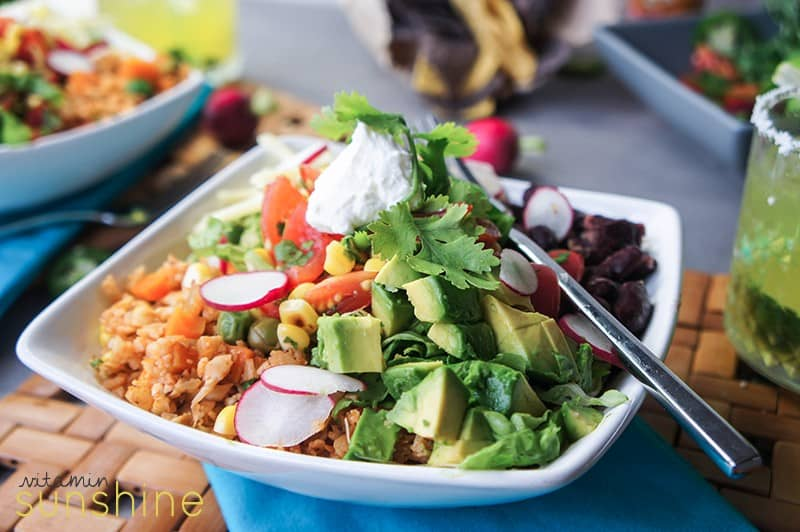 """Burrito bowls made with Low Carb Mexi """"Rice"""" , beans, and the best ..."""