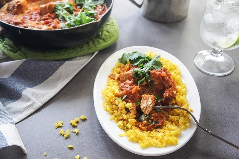 "Lightened Up Chicken Tikka Masala with Turmeric ""Rice"" {Low-Carb, Paleo}"
