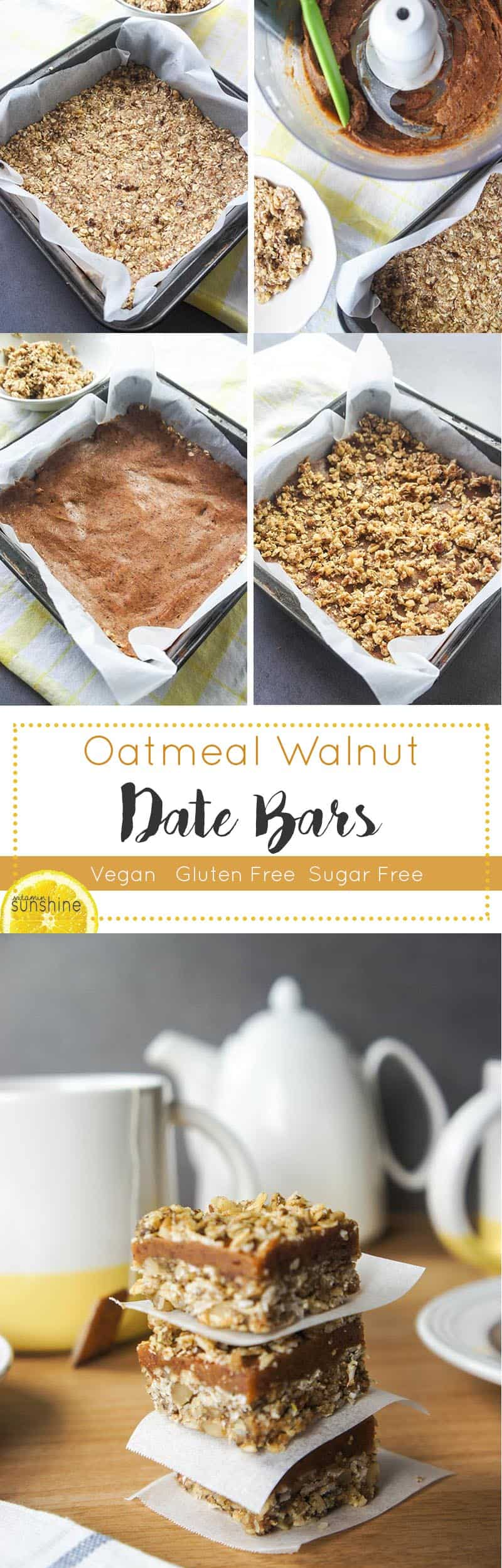 Oatmeal Walnut Date Bars / This delicious, gluten free and sugar free ...