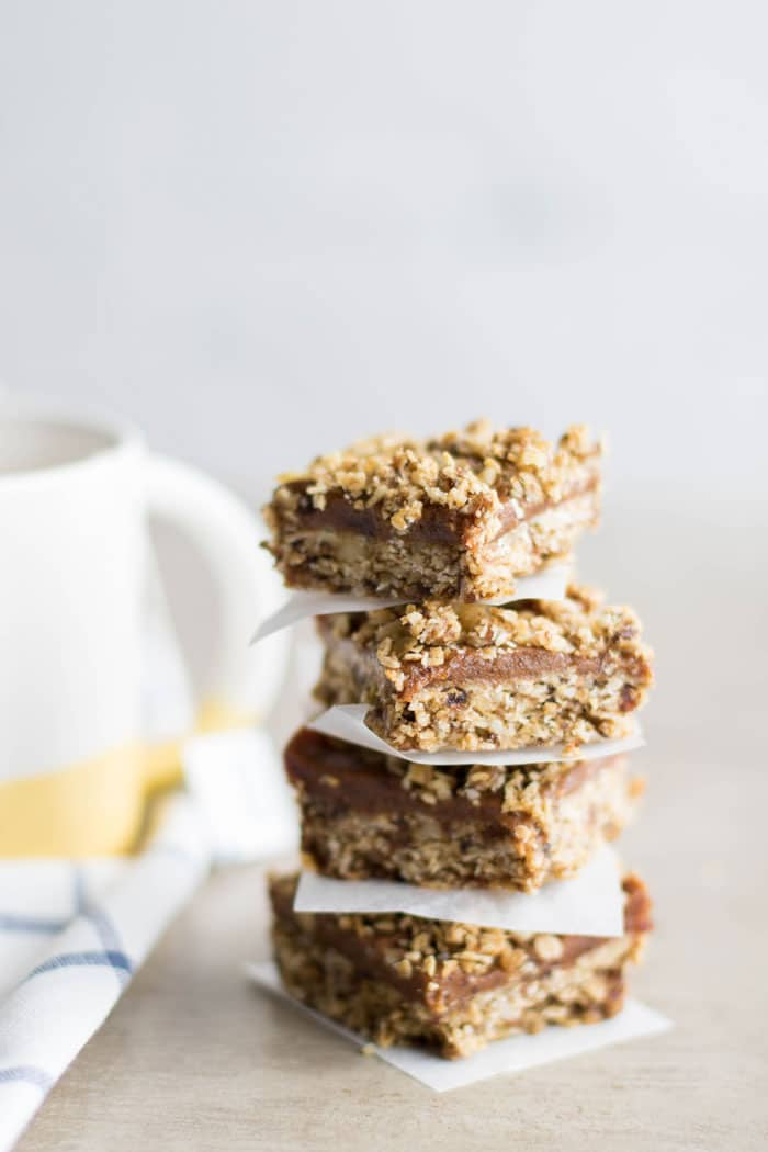 A stack of 4 gluten free date bars.