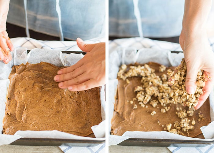 Two images, showing the process of pressing down the date layer and topping with oatmeal crumbles.