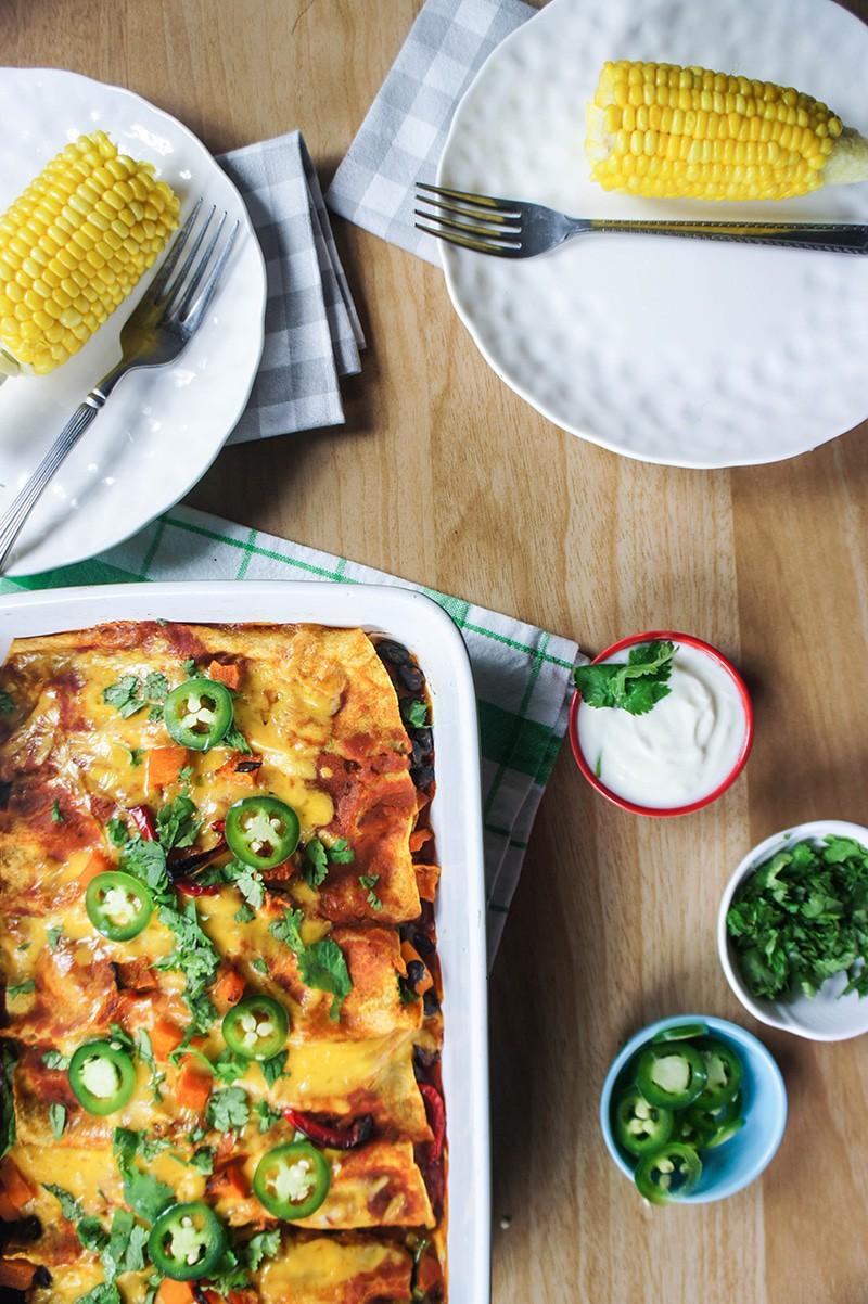 Enchiladas and Corn