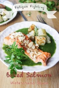 Fatigue Fighting Baked Salmon in Watercress Sauce