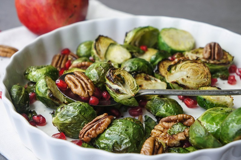 Roasted Brussels Sprouts with Pomegranate and Pecans