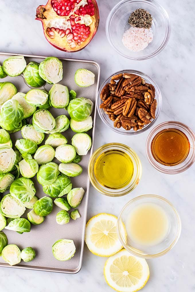 The ingredients for crispy roasted brussels sprouts sitting on a counter.