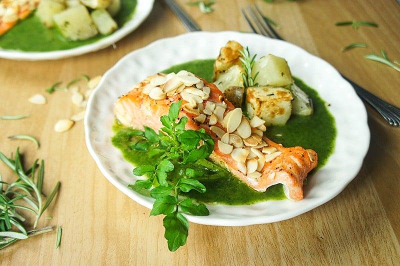 Baked Salmon in Watercress Sauce