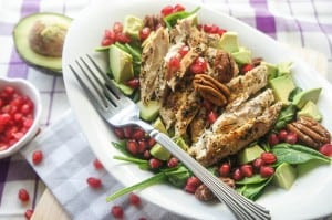 Chicken Spinach Salad with Avocado, Pomegranate, and Pecans