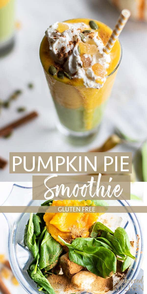 Two images showing how to make a green pumpkin pie smoothie and a smoothie in a glass garnished with whipped cream.