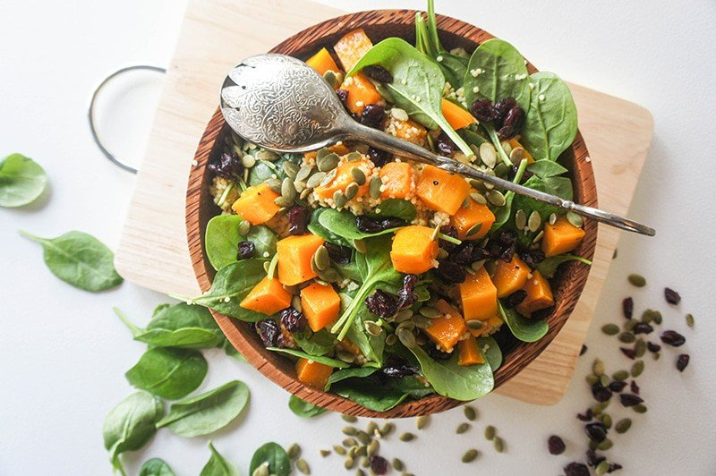 Butternut, Millet and Spinach Salad