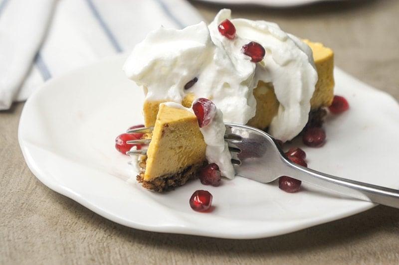 Greek Yogurt Pumpkin Cheesecake with Gingersnap Crust