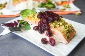 Pistachio Salmon with Cranberry Sauce and Celriac Mash