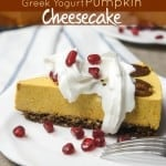 Greek Yogurt Pumpkin Cheesecake with Gingersnap Crust