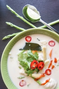 Quinoa Asparagus Tom Kha Gai (Thai Coconut Milk Soup)