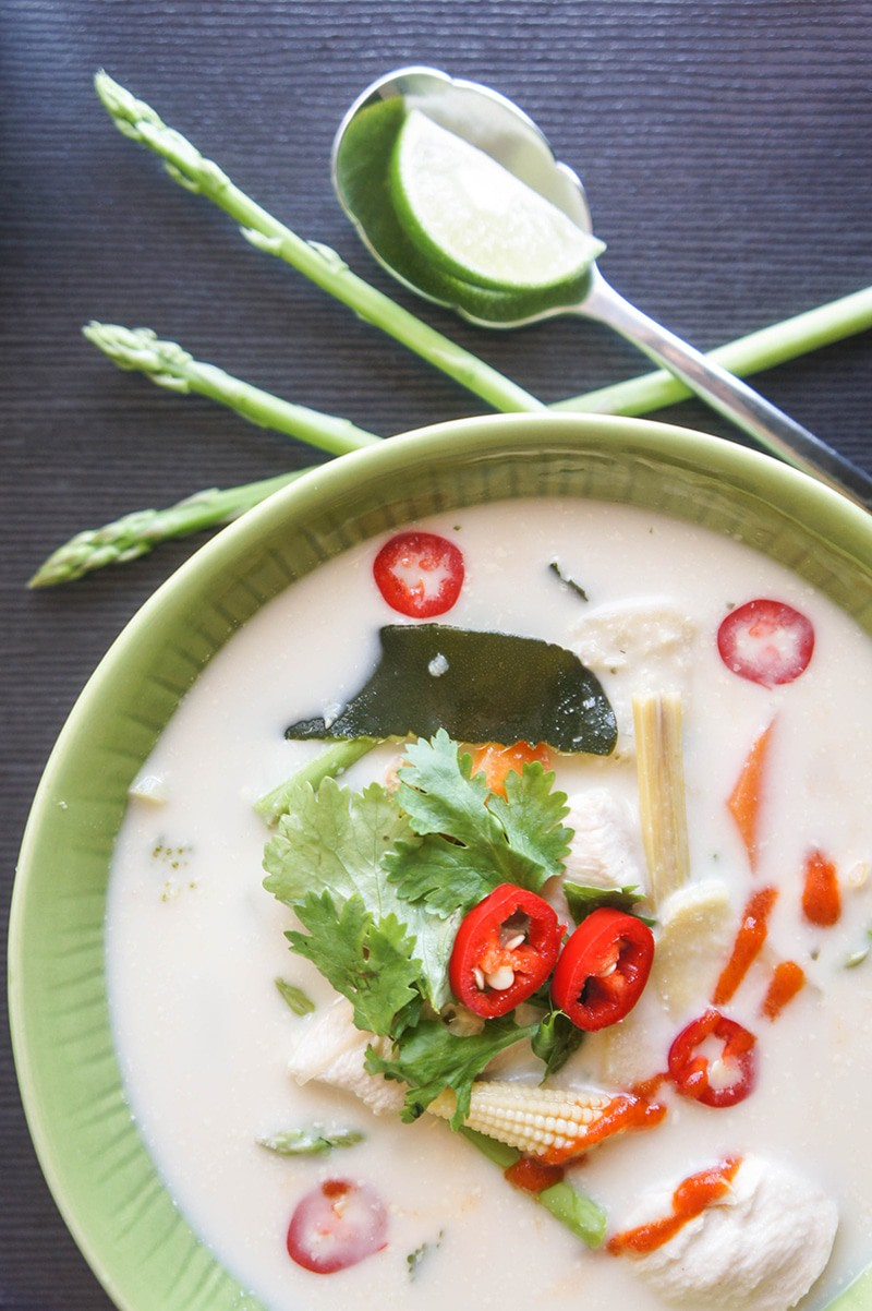 Quinoa Asparagus Tom Kha Gai (Thai Coconut Milk Soup)