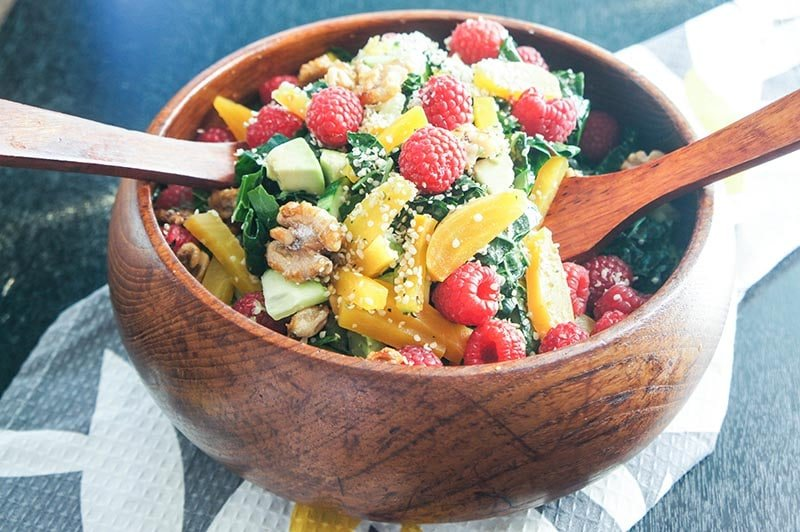 raspberry and golden beet kale salad