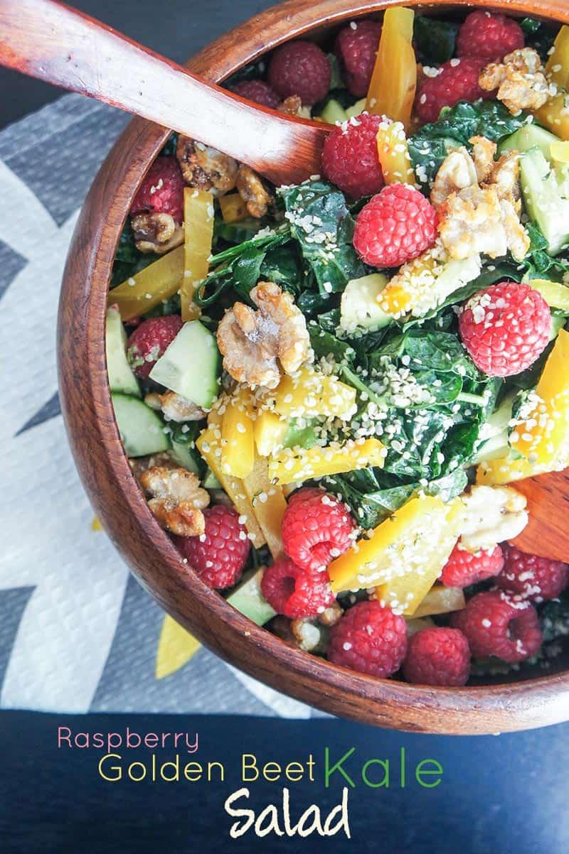 Raspberry and Golden Beet Kale Salad
