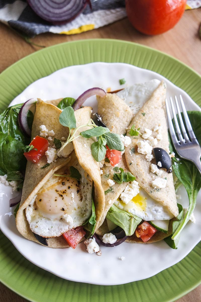 Gluten-Free Buckwheat Crepes with Greek Salad and Egg