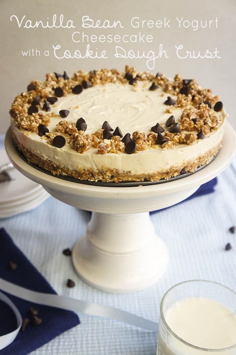 Vanilla Bean Greek Yogurt Cheesecake with a Cookie Dough Crust