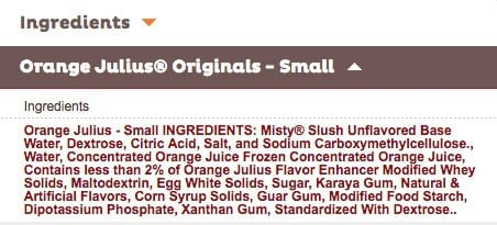 a list of the ingredients in an Orange Julius.