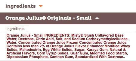 a list of the ingredients in an Orange Julius.