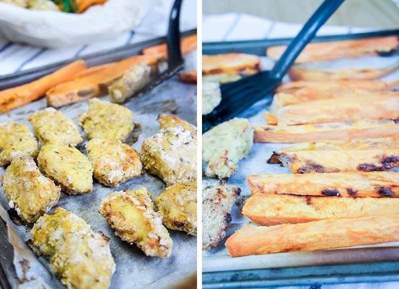 Oven Baked Chicken Nuggets and Sweet Potatoes