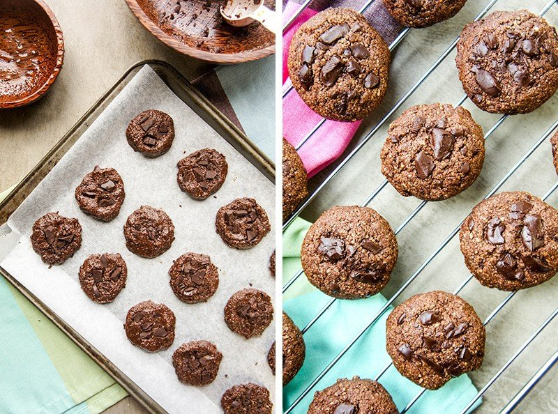 Double Dark Chocolate Chunk Cookies - Gluten Free, No Refined Sugar. A healthy, dark chocolate cookie-- an indulgent treat!