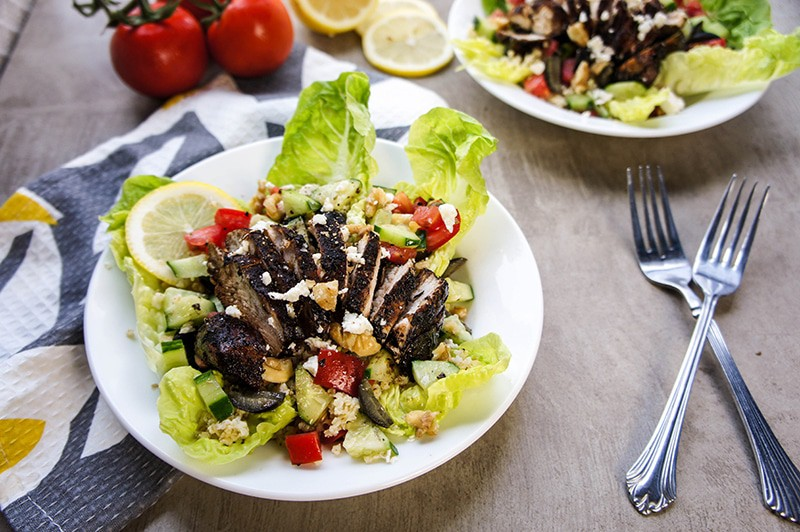 Balsamic Glazed Chicken with a Millet Greek Salad / This salad will spice up your summer dinner routine! A sweet, perfectly glazed chicken breast sits on top of vibrant bed of green and millet with a bright lemon dressing.