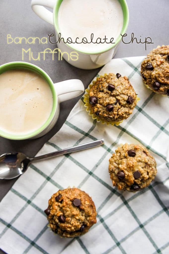 Oatmeal Banana Chocolate Chip Muffins / This coffee house favorite gets a makeover for a healthy, low sugar, high protein snack or dessert.