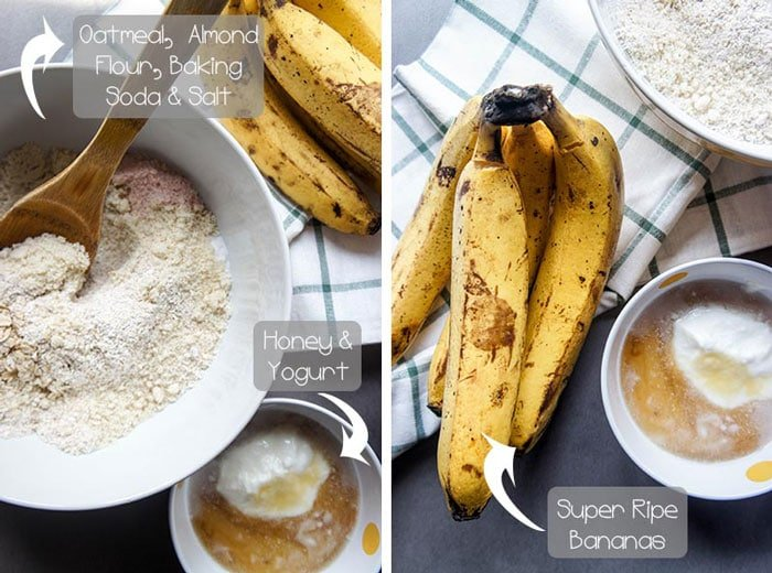 Two images showing the ingredients in gluten free banana chocolate chip muffins.