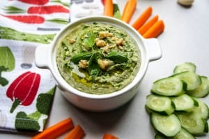 Basil Pesto White Bean Hummus (Recipe Redux)