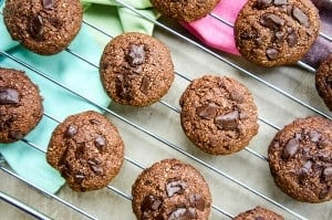Double Dark Chocolate Chunk Cookies (Gluten Free, Vegan)