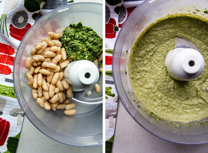 Basil Pesto White Bean Hummus / A bright, summery pesto amps up a white bean hummus. Perfect for dipping your summer garden veggies!